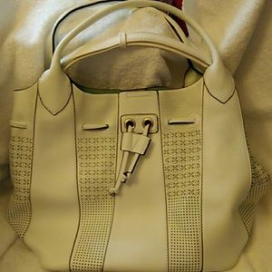 White Tote with removable zippered pouch